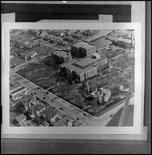 Aerial of Administration Building, Science Building, and Historical Building