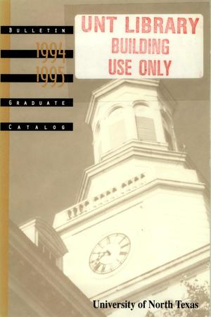 Primary view of object titled 'Catalog of the University of North Texas, 1994-1995, Graduate'.