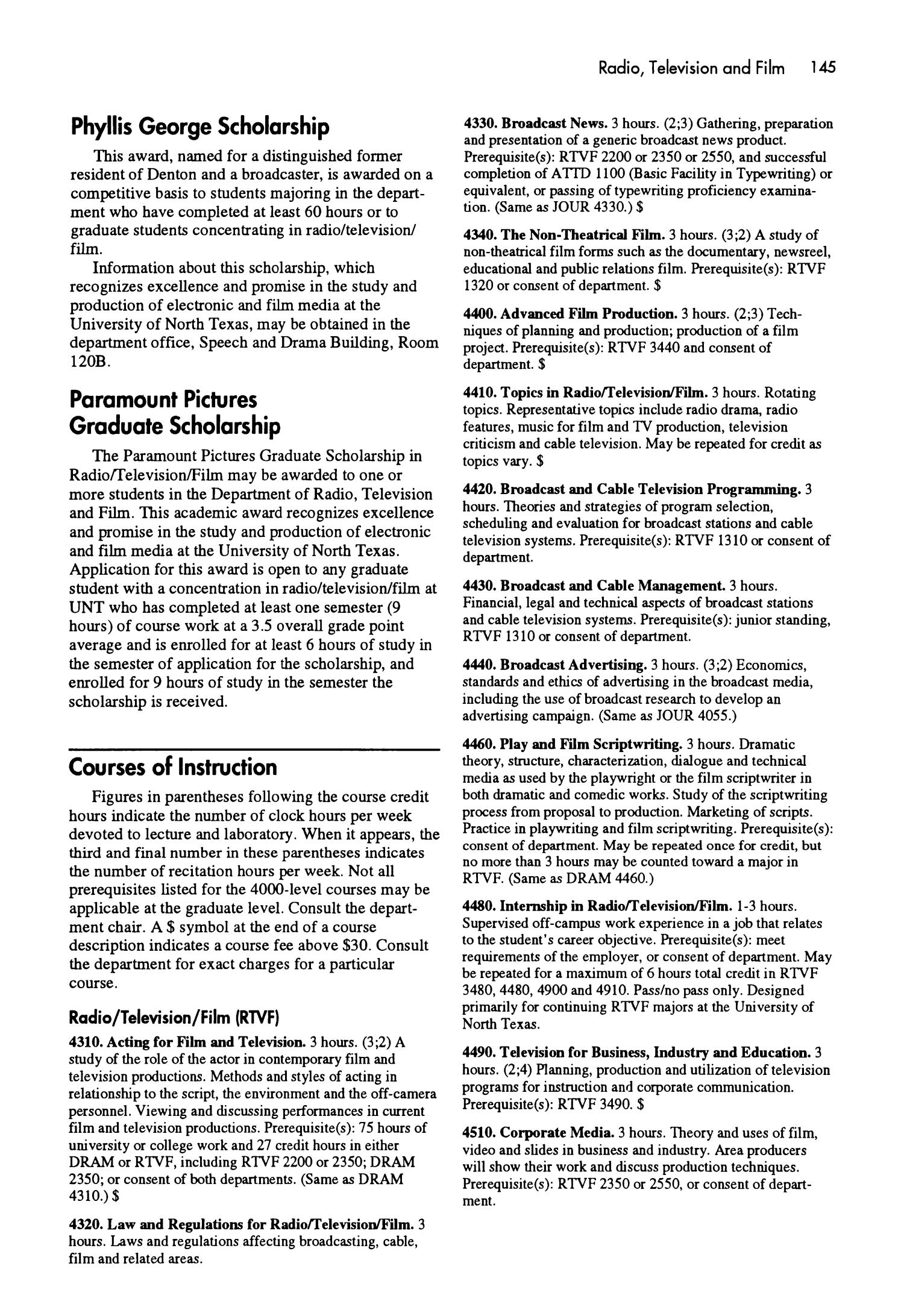 Catalog of the University of North Texas, 1994-1995