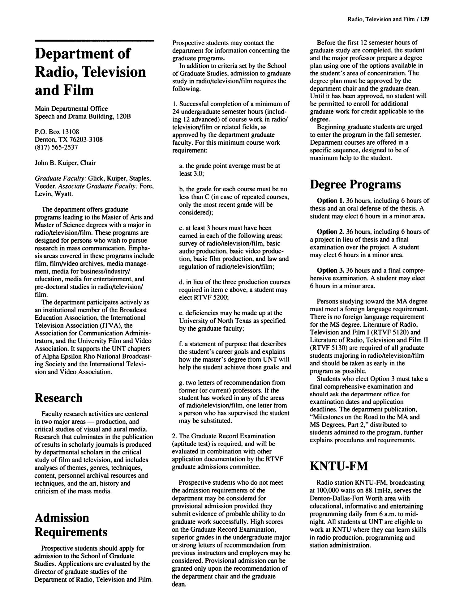 Catalog of the University of North Texas, 1992-1993