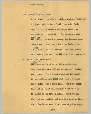 Primary view of object titled '[News Script: Rain-wind]'.