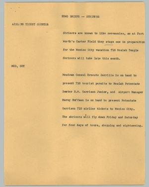 Primary view of object titled '[News Script: Shriners]'.