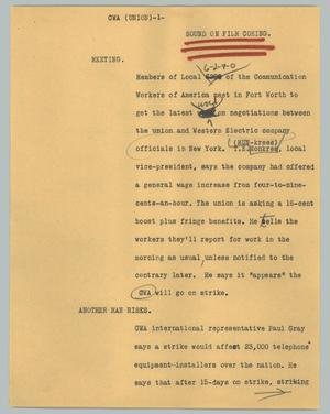 Primary view of object titled '[News Script: CWA (union)]'.