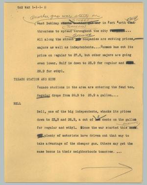 Primary view of object titled '[News Script: Gas war]'.