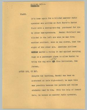 Primary view of object titled '[News Script: Blinded boy]'.