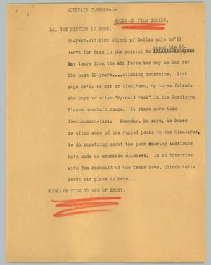 Primary view of object titled '[News Script: Mountain climber]'.