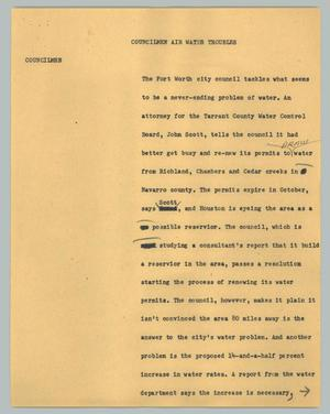 Primary view of object titled '[News Script: Councilmen air water troubles]'.