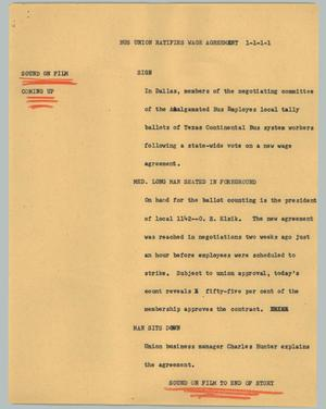 Primary view of object titled '[News Script: Bus union ratifies wage agreement]'.