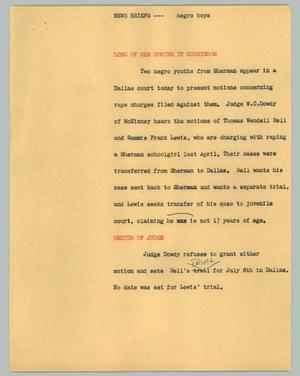 Primary view of object titled '[News Script: News briefs ---  negro boys]'.