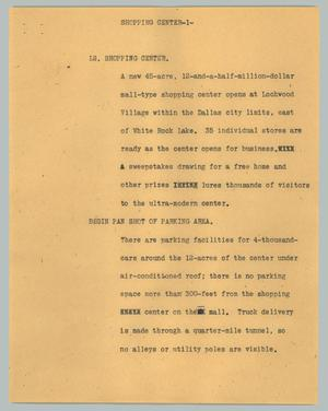 Primary view of object titled '[News Script: Shopping center]'.