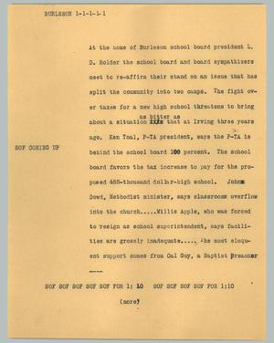 Primary view of object titled '[News Script: Burleson]'.