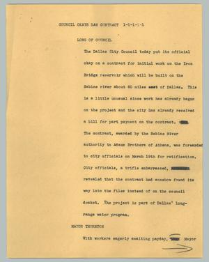 Primary view of object titled '[News Script: Council okays dam contract]'.