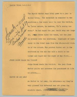 Primary view of object titled '[News Script: Carter trial]'.