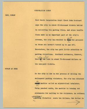 Primary view of object titled '[News Script: Corporation court]'.