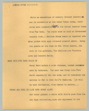 Primary view of object titled '[News Script: Lawers wives]'.