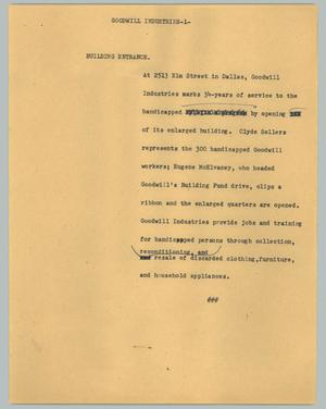 Primary view of object titled '[News Script: Goodwill industries]'.