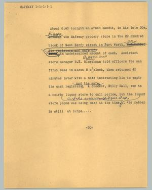 Primary view of object titled '[News Script: Safeway]'.