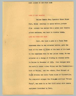 Primary view of object titled '[News Script: Parr jailed in new film case]'.