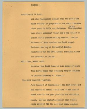Primary view of object titled '[News Script: Coaches]'.