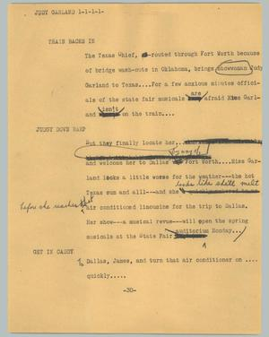 Primary view of object titled '[News Script: Judy Garland]'.