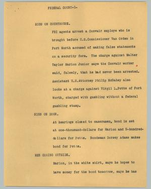 Primary view of object titled '[News Script: Federal court]'.