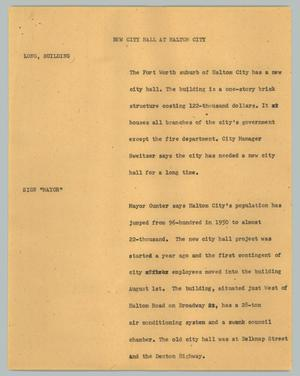 Primary view of object titled '[News Script: New city hall at Haltom City]'.
