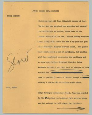 Primary view of object titled '[News Script: Judge orders girl released]'.