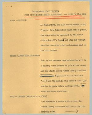 Primary view of object titled '[News Script: Parade opens Frontier Days]'.