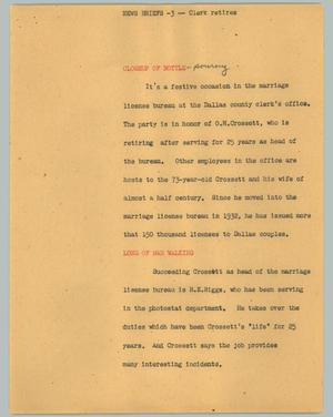 Primary view of object titled '[News Script: News vriefs -3 -- clerk retires]'.