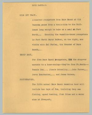 Primary view of object titled '[News Script: Boys ranch]'.