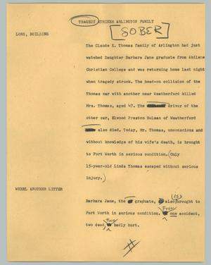 Primary view of object titled '[News Script: Tragedy strikes Arlington family]'.