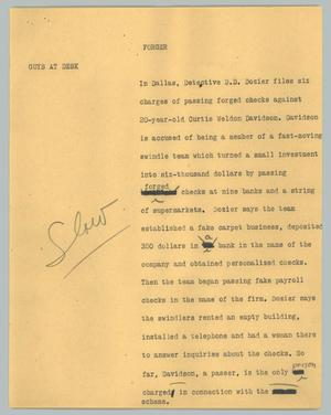 Primary view of object titled '[News Script: Forger]'.