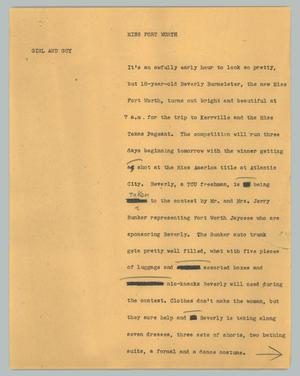Primary view of object titled '[News Script: Miss Fort Worth]'.