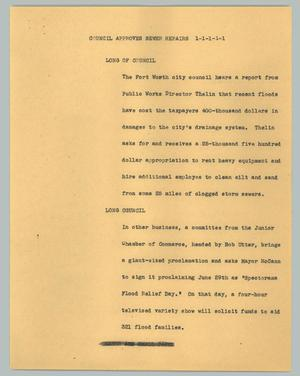 Primary view of object titled '[News Script: Council approves sewer repairs]'.