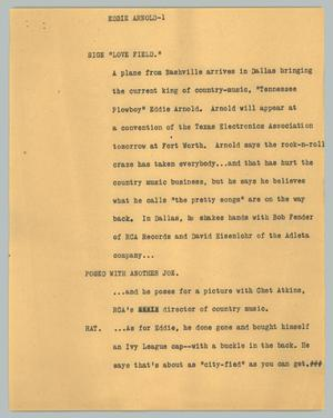 Primary view of object titled '[News Script: Eddie Arnold]'.