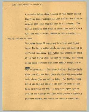 Primary view of object titled '[News Script: Long lost brothers]'.