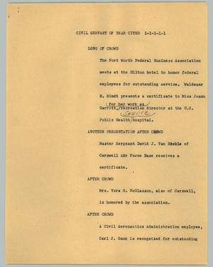 Primary view of object titled '[News Script: Civil servant of year cited]'.