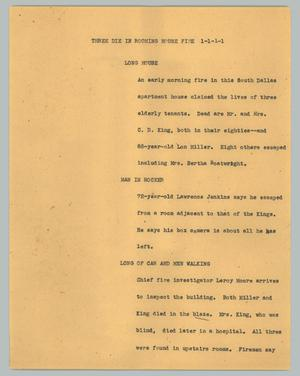 Primary view of object titled '[News Script: Three die in rooming house fire]'.