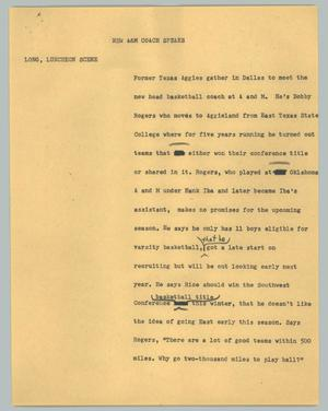 Primary view of object titled '[News Script: New A&M coach speaks]'.