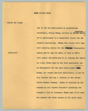 Primary view of object titled '[News Script: George Mikan]'.