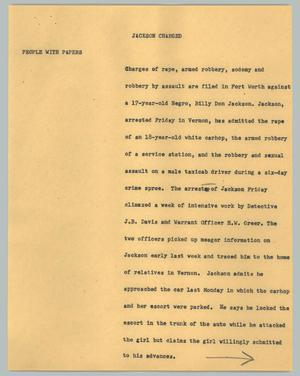 Primary view of object titled '[News Script: Jackson charged]'.