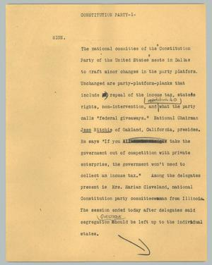 Primary view of object titled '[News Script: Constitution Party]'.