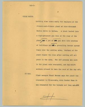 Primary view of object titled '[News Script: Gas]'.