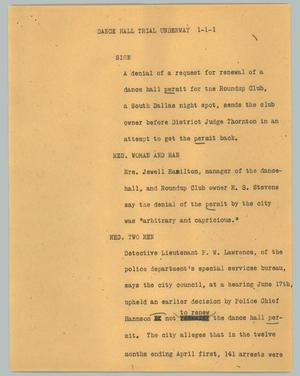 Primary view of object titled '[News Script: Dance hall trial underway]'.