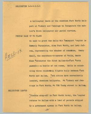 Primary view of object titled '[News Script: Helicopter]'.