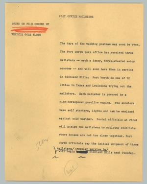 Primary view of object titled '[News Script: Post Office mailsters]'.