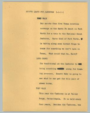 Primary view of object titled '[News Script: Scouts leave for jamboree]'.