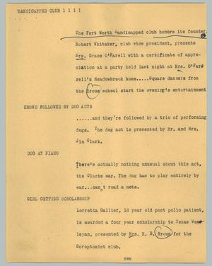 Primary view of object titled '[News Script: Handicapped club]'.