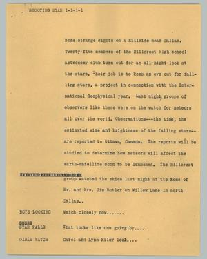 Primary view of object titled '[News Script: Shooting star]'.