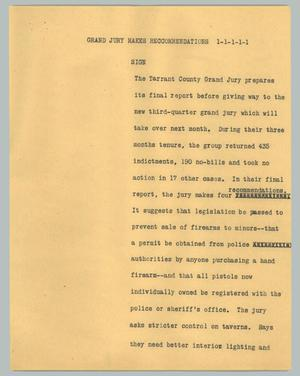 Primary view of object titled '[News Script: Grand jury makes reccommendations]'.